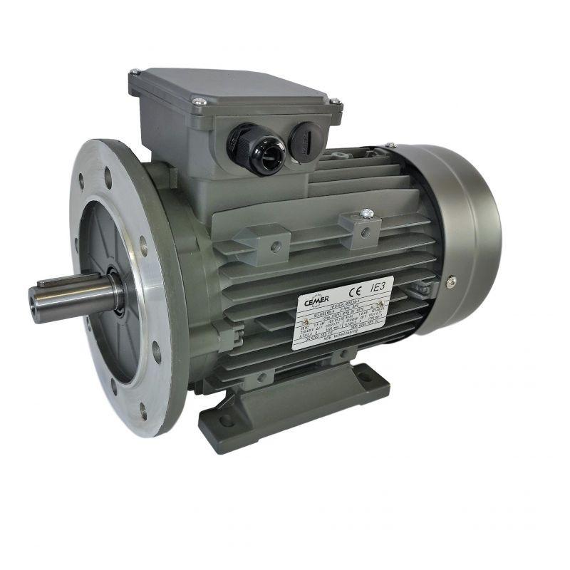 Moteur électrique triphasé 5.5kw - 3000tr/min - à pattes et bride B35 - 400/690v - Cemer - Ie3